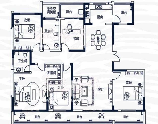 五室两厅两卫214.57㎡