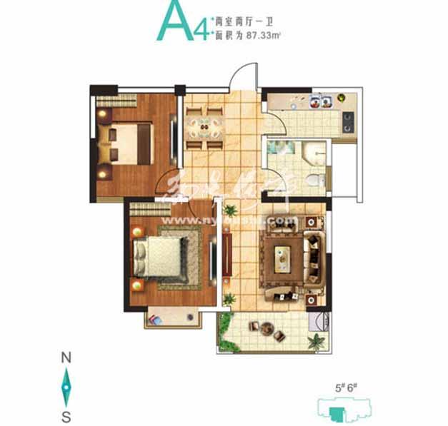 jpg 户型名称: 5#a4    户型结构: 两室两厅一卫   户型面积: 87.
